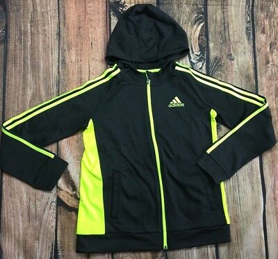 NWT Adidas Boys Youth Charcoal Yellow Hoodie Sweatshirt Zip Jacket Size 10/12