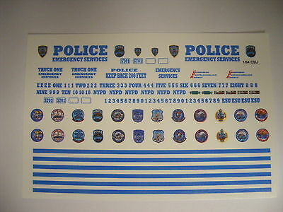 NYPD ESU 1:64 Water slide Decal set Fits all different kinds of 1:64 Vehicles