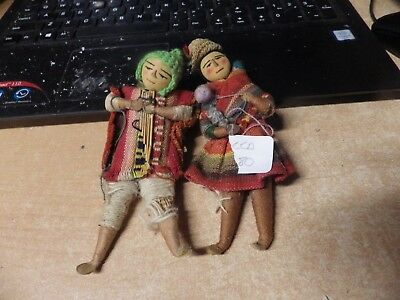 Pair Of Vintage Folk Art Hand Made Southwestern Mexican Handmade Dolls Nice