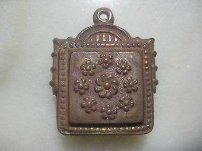 1 Vintage French Stamped Patina Brass Ornate Pendant Drop, Hollow Faux Locket