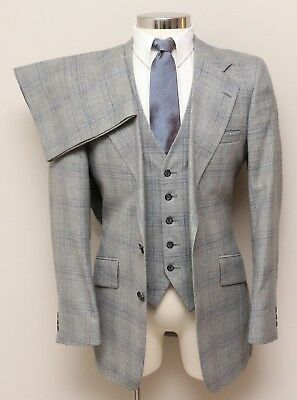 Vintage Mens 38L Ratner 3 Piece Grey and Blue Glen Check Wool Suit
