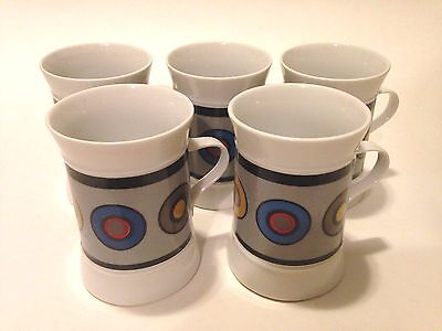 "FIVE COLLECTIBLE Sango Quadrille ""Circus"" (7020) 4"" Coffee Mugs! FREE SHIPPING!"