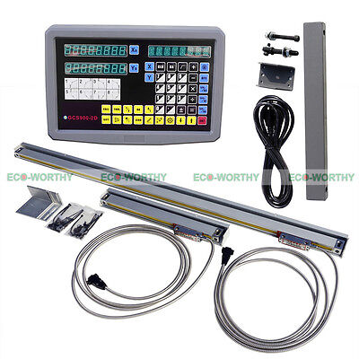 2 Axis Digital Readout DRO EDM Lathe Engraving Tool Linear Scale Kit for CNC