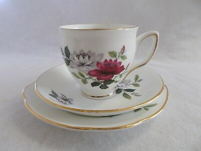 Duchess Red & White Wild Rose Teacup Trio