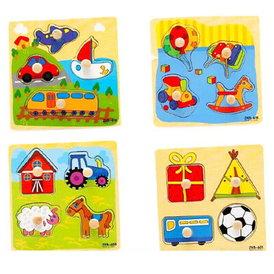 Baby Toddler Intelligence Development Animal Wooden Brick Puzzle Educational Toy