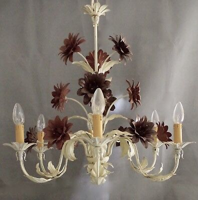 Extremely Large Rare Period 1960 French Tole Peint Chandelier (Pair Available)