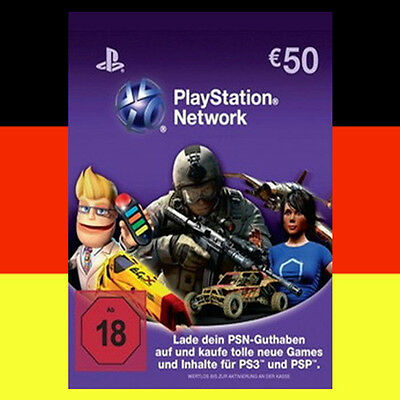 SONY PSN Playstation Network Card Key 50€ EUR 50 Euro PS3 PS4 PSP - DE