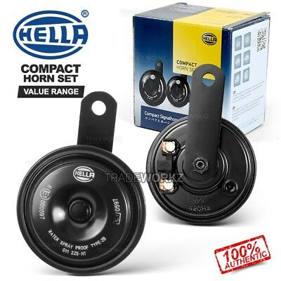 (Pair) New & Genuine HELLA Compact Disc 12V 48W Universal 4x4 UTE Car Horn Set