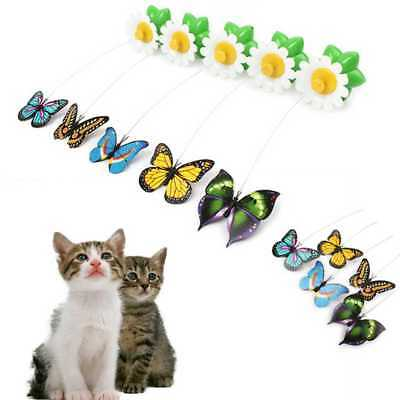 Electric Rotating Butterfly Rod Wire Cat Dog Teaser Play Toy For Pet Cats Kitten