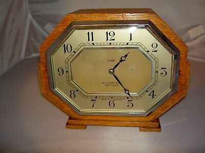 Smiths SEC W.A.PERRY Octagonal Oak Cased Mantle Clock Beautiful 1930's Art Deco