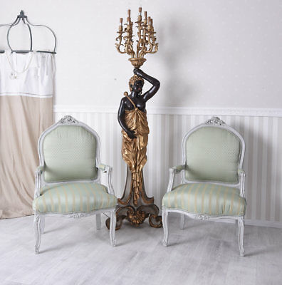 Pair Chairs Armchair shabby chic chair vintage two piece Couple