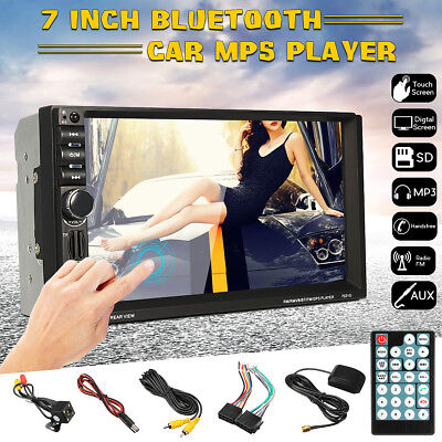 7'' TFT HD Bluetooth Double 2 Din In Dash GPS Car MP5 Player Stereo AUX FM Radio