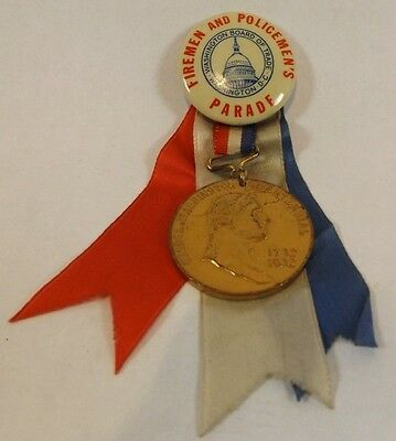 Vtg Firemen & Policemen's Parade Washington DC Pinback Button Ribbon 1932 Medal