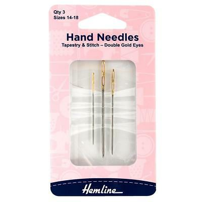 3 x Assorted Size Hemline Hand Sewing Needles Double Gold Eye Tapestry Stitch