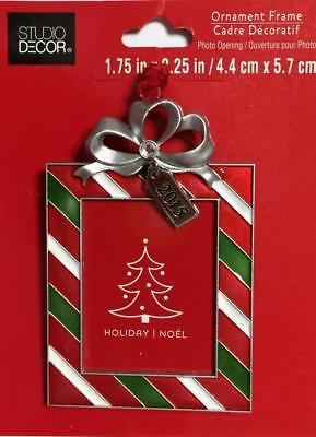 Christmas Tree Ornament 2015 Gift Present Bow Stripe Photo Picture Frame NEW