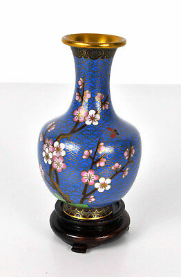 15cm Cloisonne Asian Japanese Style Vase Blue Pink Blossom with Wooden Base