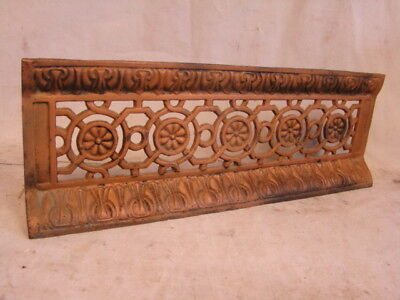 ANTIQUE LATE 1800'S CAST IRON FIREPLACE BUMPER SURROUND INSERT ORNATE DESIGN c