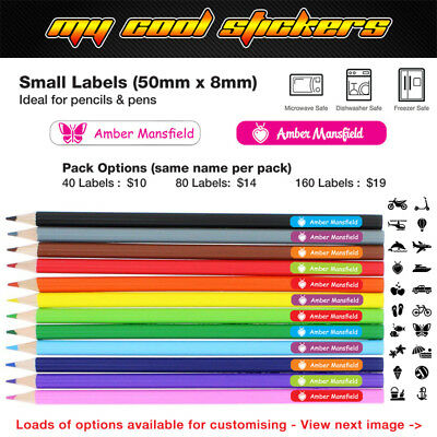 Personalised Pencil Name Label Stickers - Pencil 50mm x 8mm Dishwasher Safe