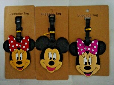 Mickey Mouse Minnie Mouse PVC Luggage Labels Tags Travel Baggage School Name Tag