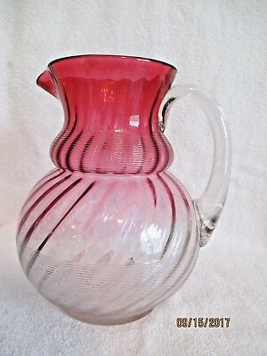 Northwood RARE Rubina Cranberry Threaded Swirl/Jewel Pitcher BEAUTIFUL