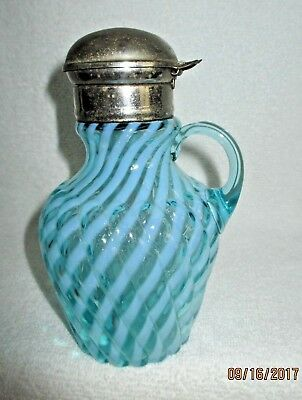 EAPG Blue Opalescent Syprup Pitcher Reverse Swirl Collared BEAUTIFUL