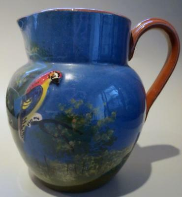 Watcombe Torquay Devon Pottery Antique Blue Jug With Parrot