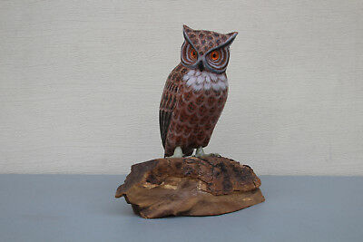 Black Forest Fine Hand Carved Great Horn Owl-Germany - Very Nice Display #7536