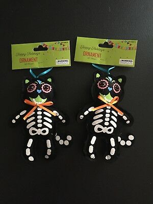 2 Fiesta Sugar Skull Cat Day of Dead Mexican Christmas Ornaments Decorations New