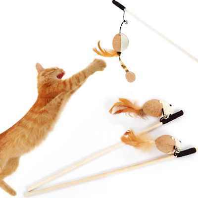 Pet Cats Toys Wooden Pole Kitten Cat Teaser Wand Play Toy Random Color Animal