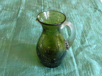 Vintage BLENKO Hand Blown Crackle Art Glass Mini Olive Green PITCHER