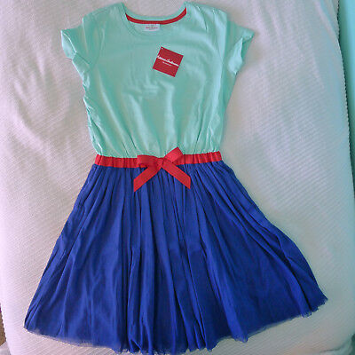 Hanna Andersson NWT 160 Surf Blue Whoosh Dress Tulle 14-16