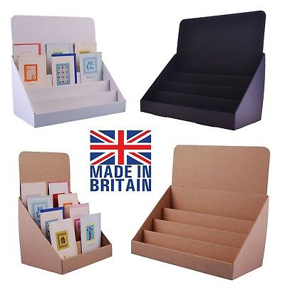 Cardboard counter top display stands for greeting cards, DVD's CD's and leaflets
