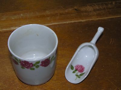 Vintage Monopoli Marked Small White Porcelain w Pink Roses Cup & Miniature Scoop