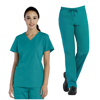 Tru Basic Womens V-Neck Top 10102 & Full Elastic Cargo Pant 90103 Scrub Set
