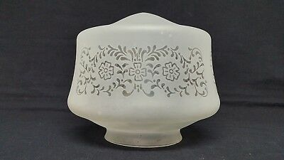 """Art Deco Ceiling Fixture Light Shade Glass Globe Satin Frosted Etched 4"""" Fitter"""
