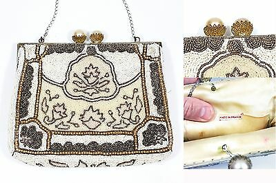 Antique Signed Beaded Purse Elegant French Bag Hand Beaded Mabe Pearl Style Snap