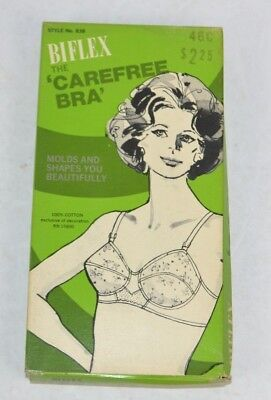 Vtg 1960's Biflex Carefree Bra 100% Cotton 46C in Original Box USA Made NOS