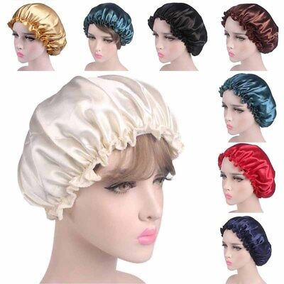 Night Sleep Cap Hair Bonnet Hat Head Cover Satin Shower Women Shampoo Waterproof