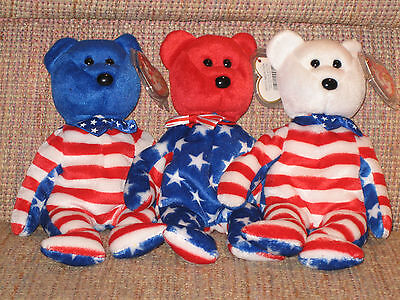 TY LIBERTY SET of 3 BEANIE BABIES - MINT with MINT TAGS