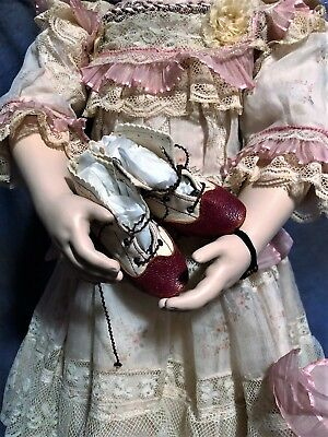 STUNNING SMALL DOLL BOOTS LACE UP TWO TONE FOR ANTIQUE Dolls or Teddy Bears