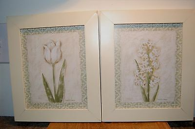 Vintage Pair Isabelle Grange Framed Pictures of Green Plants Wall Hanging (F36)