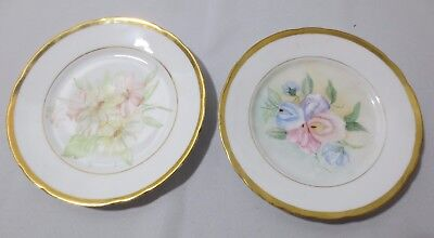 2 Vtg Handpainted Floral with Gold Trim Plates Made in Germany Signed G House