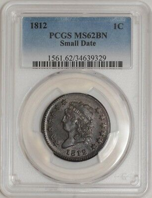 1812 Large Cent 1c Small Date MS62 BN PCGS