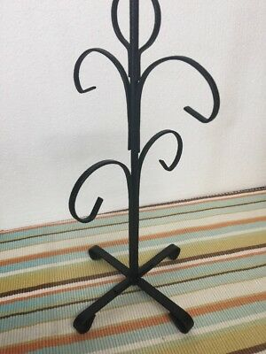 Vintage Black Metal Wrought Iron Cup Mug Tree Stand Holder