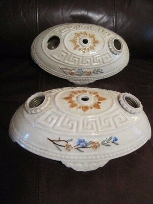 2 Vintage Art Deco Ceramic Porcelier Ceiling Electric Light Fixtures 1930's