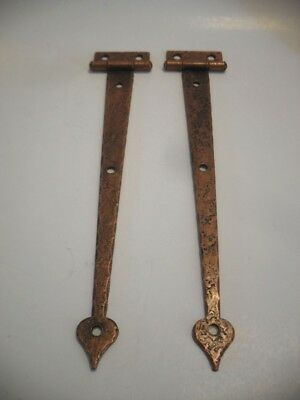 Vintage NOS Cabinet Strap HINGES Antique Hammered Copper Plate Steel Flush Mount
