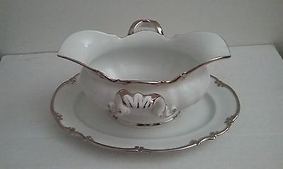 Handled HUTSCHENREUTHER REVERE (White) Gravy Boat With Attached Underplate