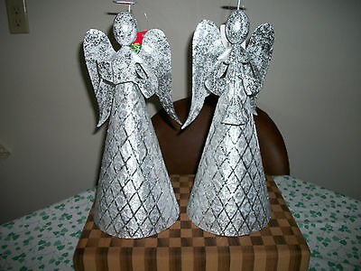 2 Silver Metal Christmas Mantel or Tree Topper Angels -- Approx. 14.5 Inch each