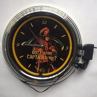 Vintage Captain Morgan Neon Clock Light Up Mancave