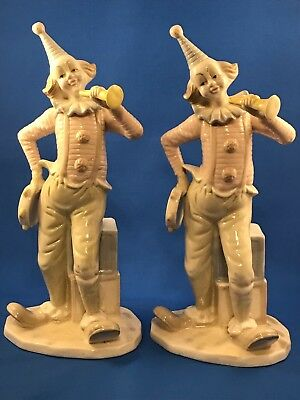 "Twin Ceramic Circus Clowns 11 3/4"" Tall"